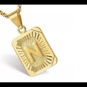 """Gold Filled Letter N Pendant 18"""" Long Neck…"""